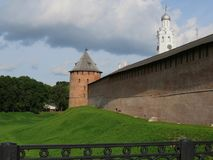The beauty and grandeur of ancient Pskov. Russia. The Pskov Kremlin is surrounded by a secure fortress wall. Inside - temples, cathedrals, museums. Russia Royalty Free Stock Photo