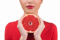 Beauty with grapefruit. Royalty Free Stock Images