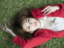 Beauty, Grass, Girl, Black Hair Royalty Free Stock Photography
