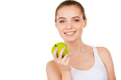 Beauty with green apple. Stock Images