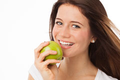 Beauty and green apple Royalty Free Stock Images