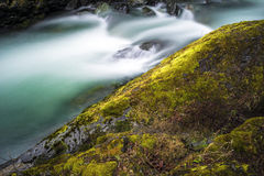 Beauty Green. The Chilliwack River takes on a shade of green as the glacial snow melt begins to swell the river. Chilliwack, BC, Canada Stock Photos
