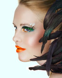 Beauty with green eyelashes Royalty Free Stock Photos