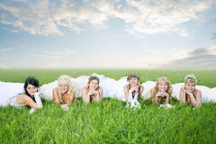 Beauty group of bride. Outdoor royalty free stock image
