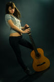 Beauty with guitar Stock Photography