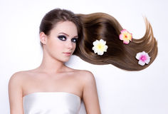 Beauty hair of beautiful young woman Royalty Free Stock Images