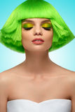 Beauty Hair. Fashion  Model Girl Portrait. Woman  With Short Gre Stock Photography
