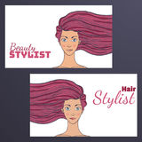Beauty hair Studio Business Card with a picture of beautiful girl developing . Empty space for your text. illustration. Royalty Free Stock Images