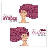 Beauty hair Studio Business Card with a picture of beautiful girl developing . Empty space for your text. illustration. Stock Photos