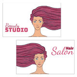Beauty hair Studio Business Card with a picture of beautiful girl developing . Empty space for your text. illustration. Stock Photo