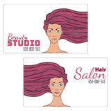 Beauty hair Studio Business Card with a picture of a beautiful girl with developing hair. Empty space for your text. Vector illust Stock Image
