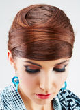 Beauty hair style  on white young model Royalty Free Stock Images