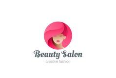 Beauty Hairdresser salon Woman Logo design. Vector template circle shape. SPA, Fashion, Makeup, Hairdressing girl Logotype concept icon vector illustration