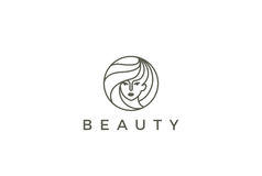 Beauty Hairdresser salon Woman Logo vector circle Stock Images