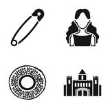 Beauty, hairdresser and or web icon in black style. bakery, history icons in set collection. Royalty Free Stock Images