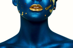 Beauty Halloween Girl with blue Skin and gold Lips Stock Photography