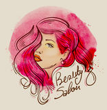 Beauty. hand-drawn face of a beautiful girl with long hair. vector illustration Royalty Free Stock Images