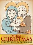 Beauty Hand Drawn Holy Family Design for Christmas, Vector Illustration Stock Photos