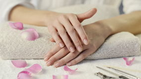 Beauty hands on the towel stock footage