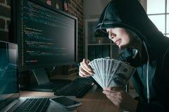 Beauty happy female hacker spreading bad virus Royalty Free Stock Images