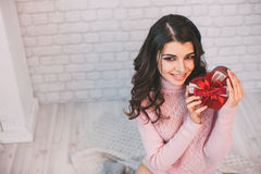 Beauty happy girl with Valentine gift box. Royalty Free Stock Photo