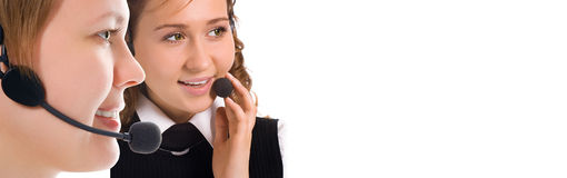 Beauty happy girls operators team Royalty Free Stock Photo
