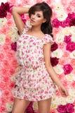 Brunette woman wear pastel flower royalty free stock photo