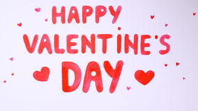 Beauty Happy Valentine`s Day Text drawn on a white background. 4K stock footage