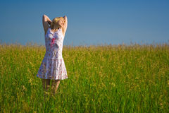 Beauty Happy Woman In Field Royalty Free Stock Photo