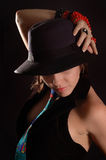 Beauty with hat stock image