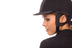 Beauty haughty strict jockey. Close up portrait of beauty haughty strict jockey, isolated on white Stock Images