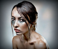 Beauty head shot of a woman with heavu makeup Royalty Free Stock Photography