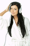 Beauty with headphones Stock Photos