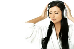 Beauty with headphones Stock Photos
