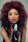 Beauty headshot. Fashion glamour beauty headshot of red hair woman royalty free stock photography
