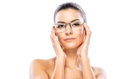 Beauty headshot with eyeglasses Stock Photography