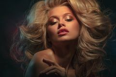 Beauty headshot of fashion blonde model royalty free stock images