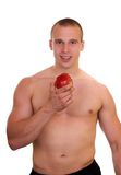 Beauty and health. Athlete man eating an apple, health concept stock photos