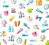 Beauty and health, background, seamless, color, white, vector. Stock Image