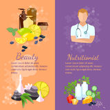 Beauty and health banner professional nutritionist. Beauty and health banner spa natural cosmetics dietetics professional nutritionist Stock Photos