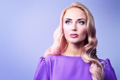 Beauty and health care. Portrait of a beautiful blonde lady, Beauty, fashion stock image