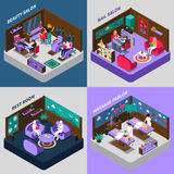 Beauty And Health Procedures Isometric Compositions. Beauty and health procedures nail salon massage parlor and rest room isometric compositions  vector Royalty Free Stock Images