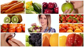 Beauty and healthy food stock footage