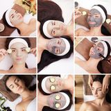 Beauty, healthy lifestyle and relaxation concept - collage of many pictures with beautiful young women having facial or body massa. Ge in spa salon Royalty Free Stock Photography