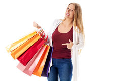 Beauty hhopping woman holding bags Royalty Free Stock Images