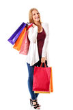 Beauty hhopping woman holding bags Stock Photography