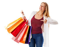 Beauty hhopping woman holding bags Royalty Free Stock Photography