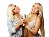 Beauty hipster girls with a microphone singing and having fun Royalty Free Stock Photography
