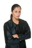 Beauty Hispanic Woman Judge 1. Beautiful Hispanic woman judge in black judicial robes standing with her arms crossed Royalty Free Stock Photo