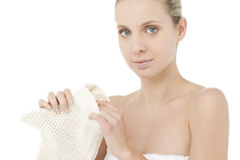 Beauty holding scrubbing glove Stock Image